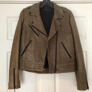Rag and Bone olive leather moto jacket/vest